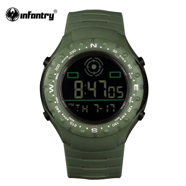INFANTRY Luxury Brand Fashion Mens LCD Digital Watches Green Military Army Rubber Strap Round Face Male Clock Alarm 2017