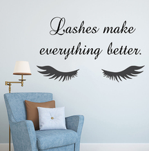 Beauty Salon Quote Wall Sticker Long Eyelashes Vinyl Decals Eyebrows Brows Art Mural Home Decor AY1078