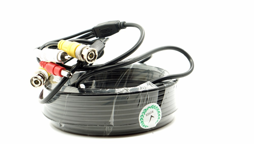 Vehicle DVR av bnc RCA cable 40M with audio video car cctv cable разъём bnc п rca м
