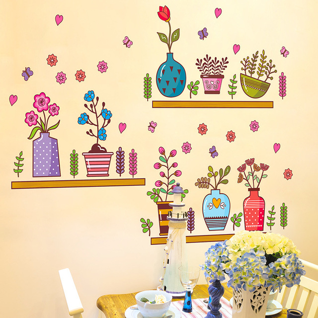 Colorful Potted Flowers Wall Stickers with Shelves Wall Stickers ...