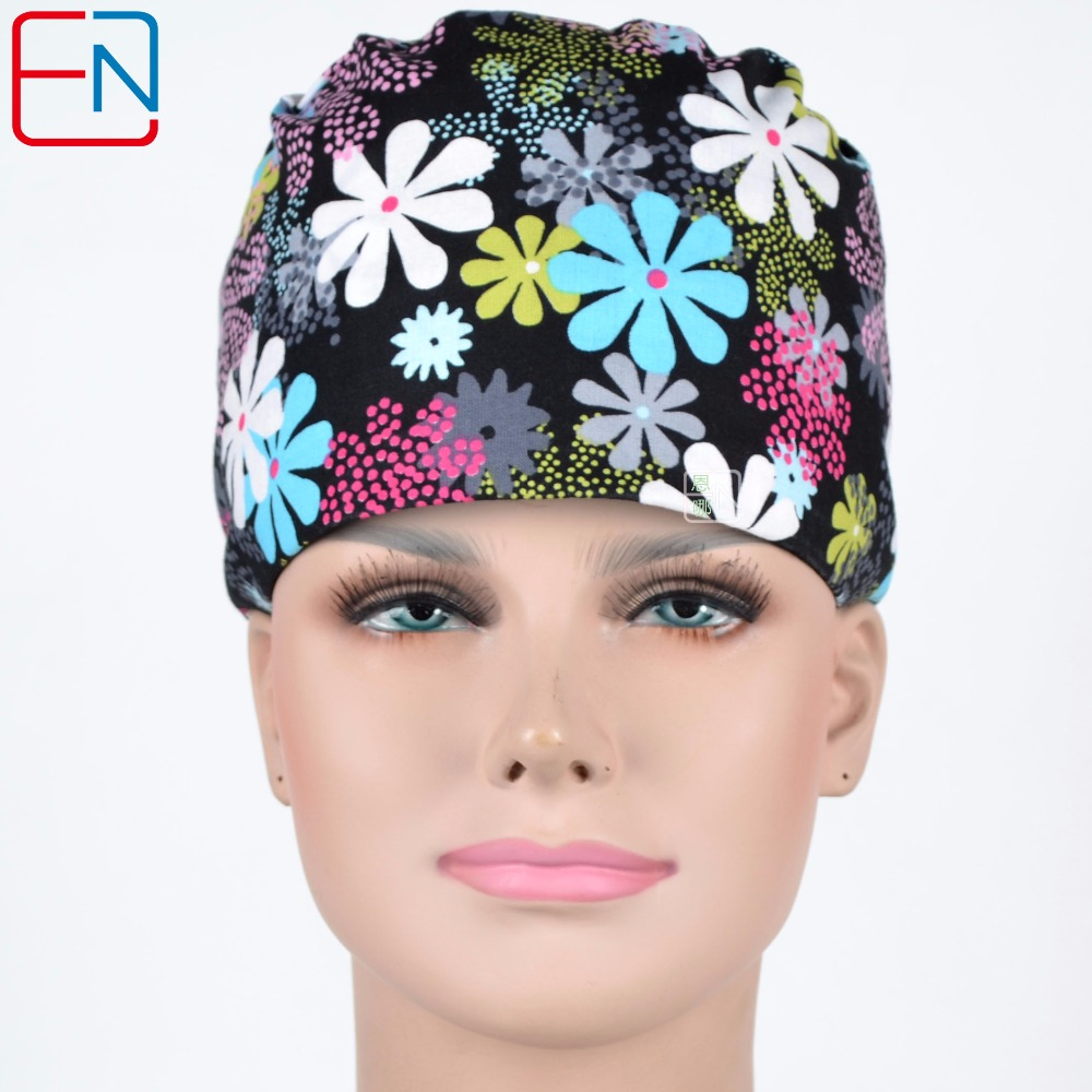 Women Surgical Caps In Black With Flowers In Cotton With Sweatband