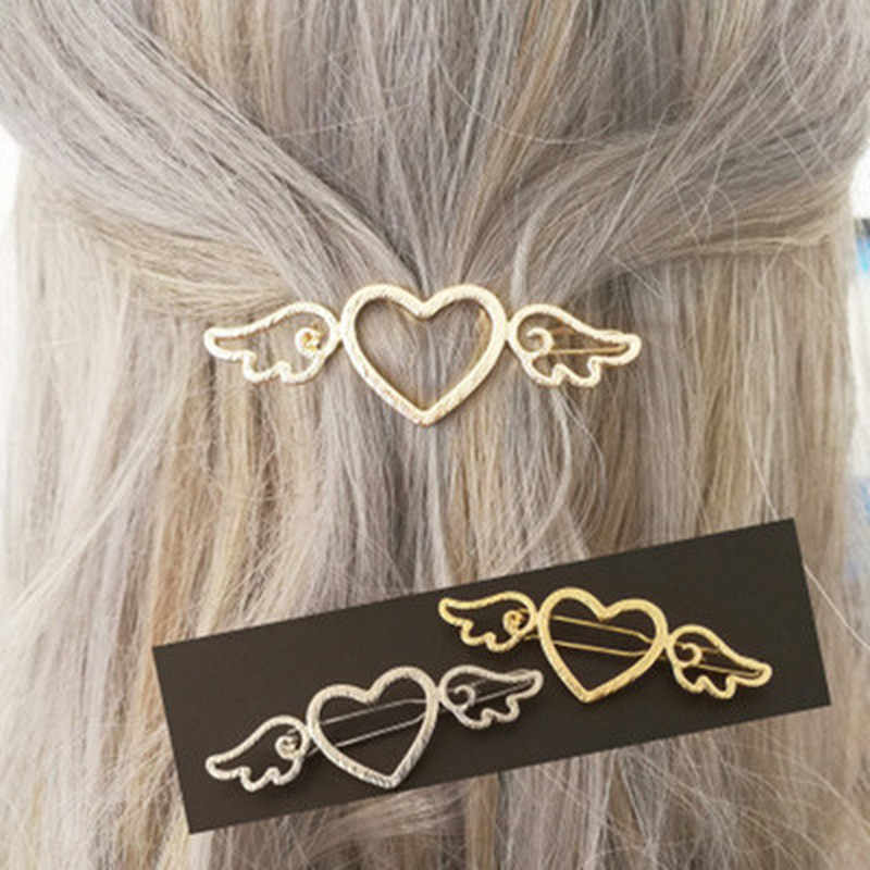 Girl Female Metal Angle Wings Love Heart Barrette Clips Side Hairpins Hair Tools  Hair Clip Bow