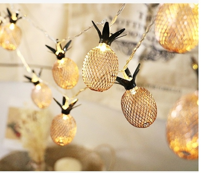 1M/1.5M/3M Lovely Yellow Pineapple Holiday String Light Battery/EU Plug Powered LED Light For Christmas Bedroom Party Decor