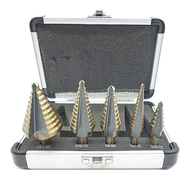Step Drill Bit Set W/ Aluminum Case Sae Metal Wood Hole Cutter Step Cone Drill Bit Set 5pcs Hss Cobalt Multiple Hole 50 Sizes