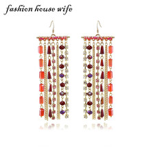 New Colorful Crystal Long Drop Earring For Women Handmade Luxury Gold Chian Tassel Earrings Wedding Jewelry Gifts LE0229