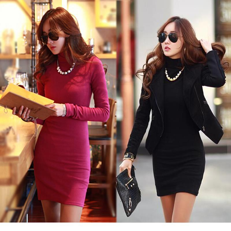 Mini Tricot Women Dress Turtle Neck Korean Clothes Red Black Slim Dresses  Bodycon Cotton Knitted Winter Dress 2016 plus size-in Dresses from Women s  ... 0cb18ec6388d