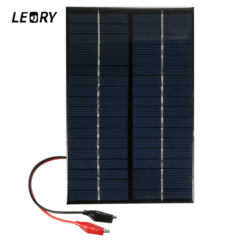 LEORY 4.2W 18V Portable PolyCrystalline Solar Panel Solar Cells Charger With Alligator Clip For Car Automobile Boat