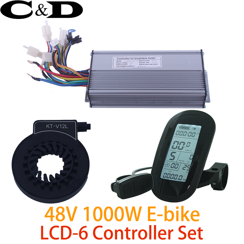 48V 1000W Controller LCD LCD6 display Meter PAS Set E bike Conversion kit Sine wave Hall