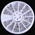 1 Caja de Colores de Acrílico Del Clavo de Los Rhinestones Rueda de La Decoración Estrella Del Bowknot Waterdrop Flor de Fondo Plano Decoraciones Del Arte Del Clavo de Manicura