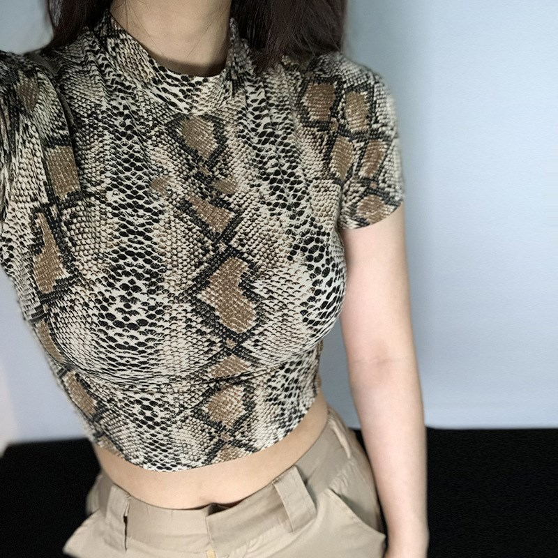 CZCCWD Women Clothes <font><b>2019</b></font> <font><b>Fashion</b></font> Female T-shirt Snake Print <font><b>Sexy</b></font> Shirt Ulzzang Harajuku Streetwear Crop <font><b>Top</b></font> Women Trend T Shirt image