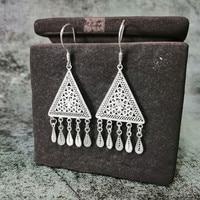 Triangle 999 Sterling Silver Drop Earrings For Women Accessories Tassel Earing Vintage Handmade Boho Jewelry Korean Fashion