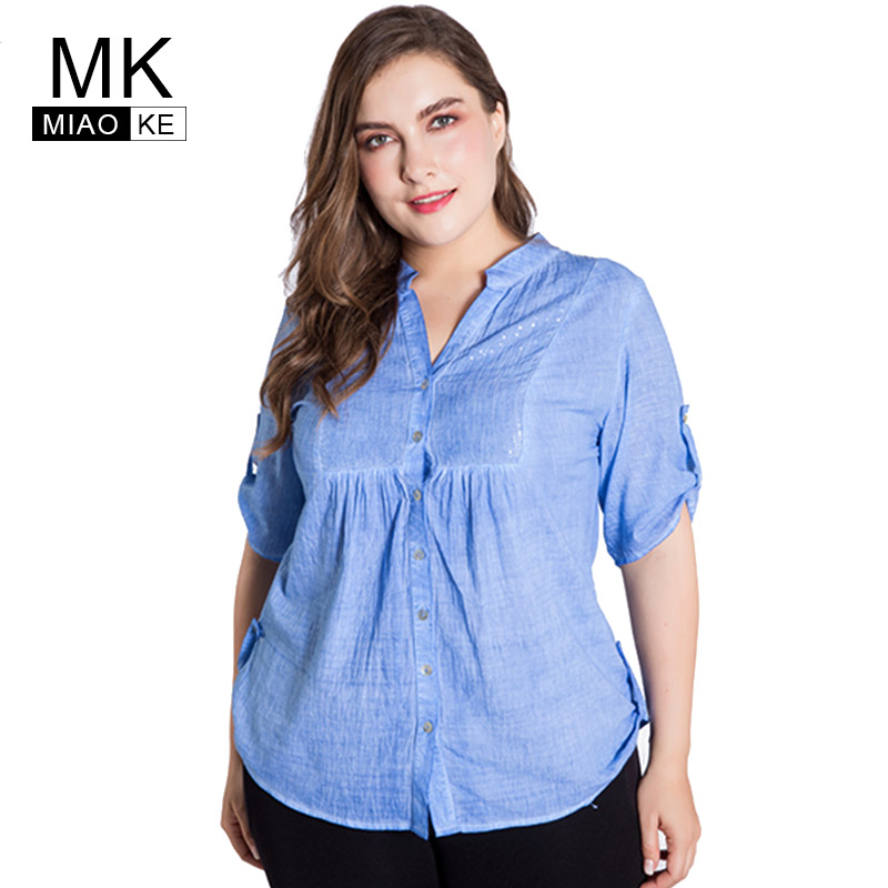 b1a066b832fde Detail Feedback Questions about Miaoke Plus Size Linen blouse for women  clothes 2018 Summer Fashion Five points sleeve V collar blue tops big size  4xl 5xl ...