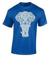 Cotton Jersey Mens Tees Elephant Full Body Trắng T-Shirt Indian Art Áo Sơ Mi Công Việc Nghi Mềm Buổi Hòa Nhạc Tees