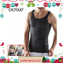 OUTAD Men Corset Body Slimming Tummy Shaper Vest Belly Waist Girdle Shirt Black/White Shapewear Underwear Waist Girdle Shirts(China)