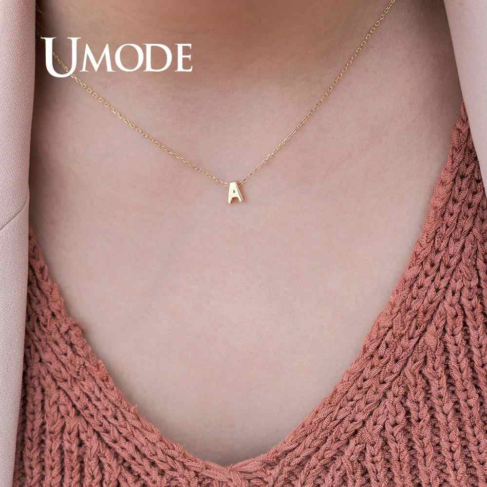 UMODE Women 26 Letter Initial Silver Choker Necklace Chain Personalized Necklace Gold Pendant Summer Jewelry Accessories UN0373