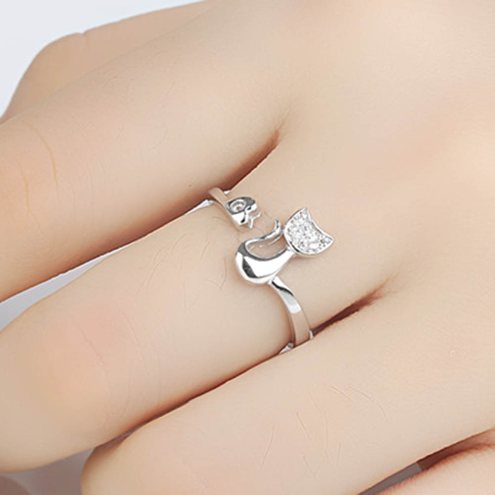 Party Jewelry Delicate Rose Gold Silver Tone Lovely Cat Shape Clear Crystal Inlaid Women Girl Opening Ring