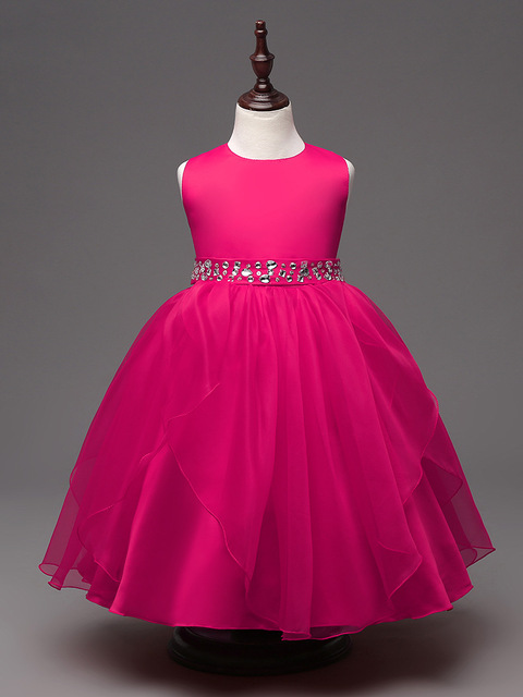 fashion formal party tea length hot pink flower girl dress white ...
