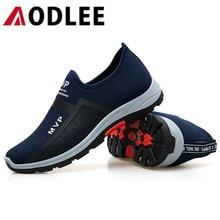 Aodleeファッションメンズシューズカジュアルラグジュアリーブランド靴ローファー男性スニーカーメッシュ駆動ボートの靴でスニーカー
