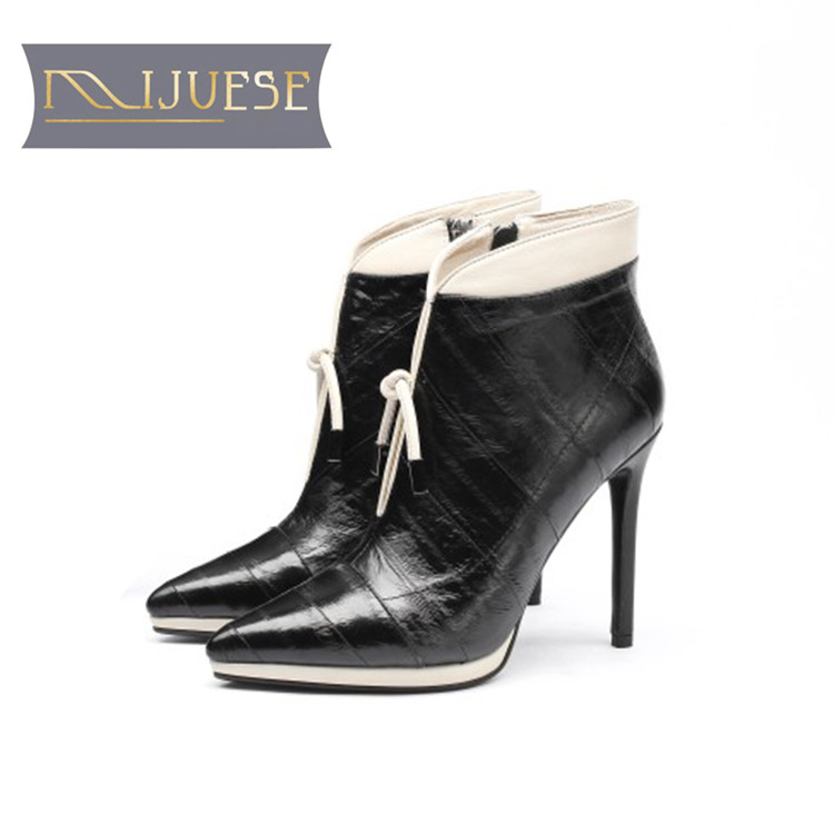 MLJUESE 2019 women ankle boots cow leather Rome lace up pointed toe platform Stiletto boots thin heel high heel women boots jialuowei women sexy fashion shoes lace up knee high thin high heel platform thigh high boots pointed stiletto zip leather boots