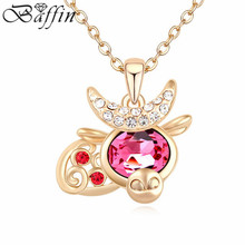 Delicate Crystal Jewelry Gold Color Cow Necklace Chain Jewelry for kids Made With Swarovski Elements(China)