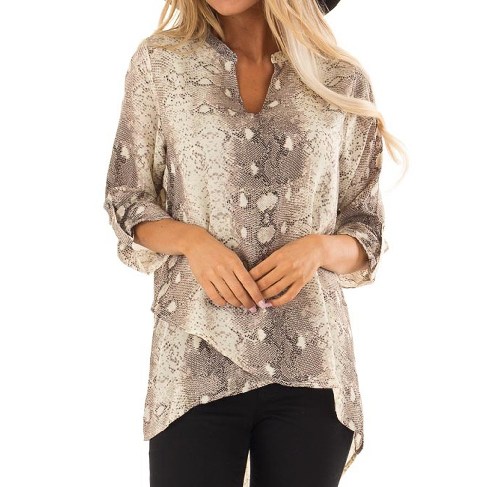 Gray Snake Skin Print Turn down Neck Sexy Kimono Women   Blouse     Shirt   2018 Autumn Long Sleeve Vacation Patchwork   Blouse   And Tops