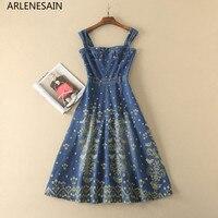 Arlenesain пользовательские высокое качество Для женщин подиумные платья славный вышивка джинсовый ремень спагетти длинное платье