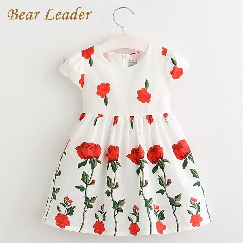 Bear Leader Girls Dress 2017 Spring&Summer Style Brand Girls Clothes Rose Flowers Design Dress for Kids Clothes Princess Dresses фото