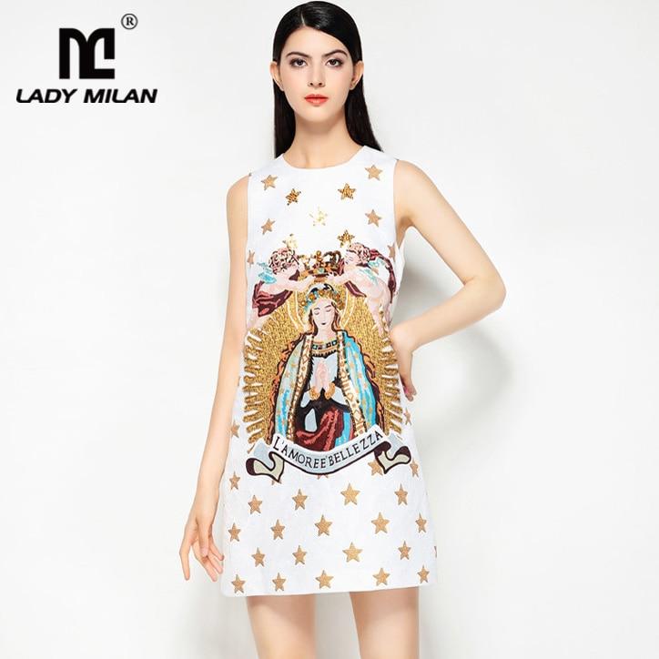 New Arrival 2018 Womens O Neck Sleeveless Vintage Printed Beaded A Line Elegant Fashion Short Designer Runway Dresses