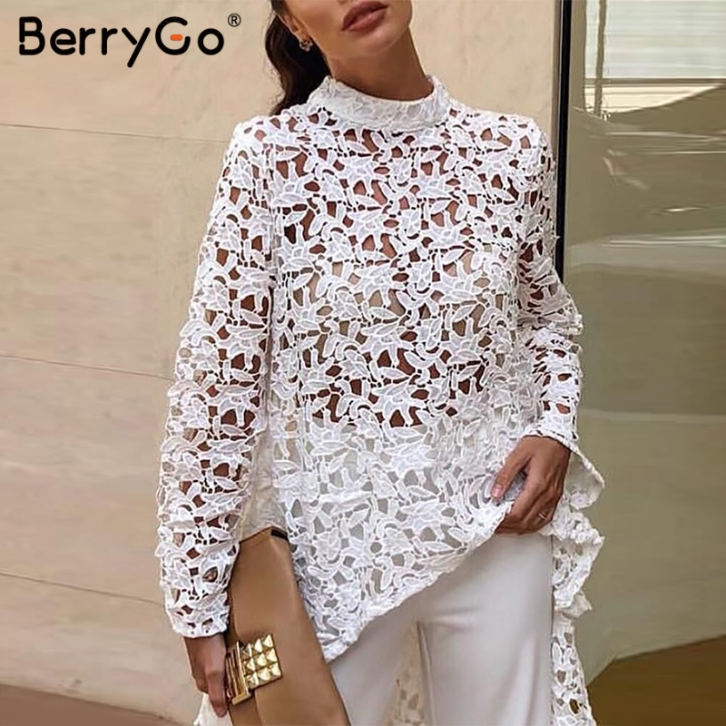 BerryGo women long   blouse   lace   blouse   Sexy long sleeve embroidery hollow out asymmetrical   blouse     shirt   celebrity party tops