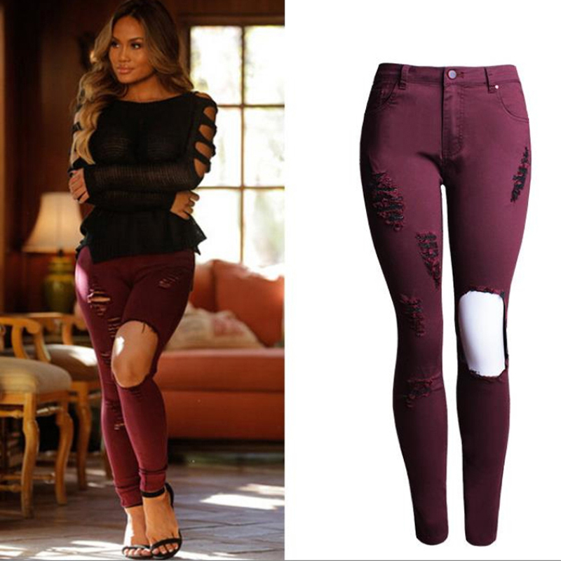 Nice font b Women b font Skinny Wine Red Jeans Elastic Slim Torn Hole Knee Ripped