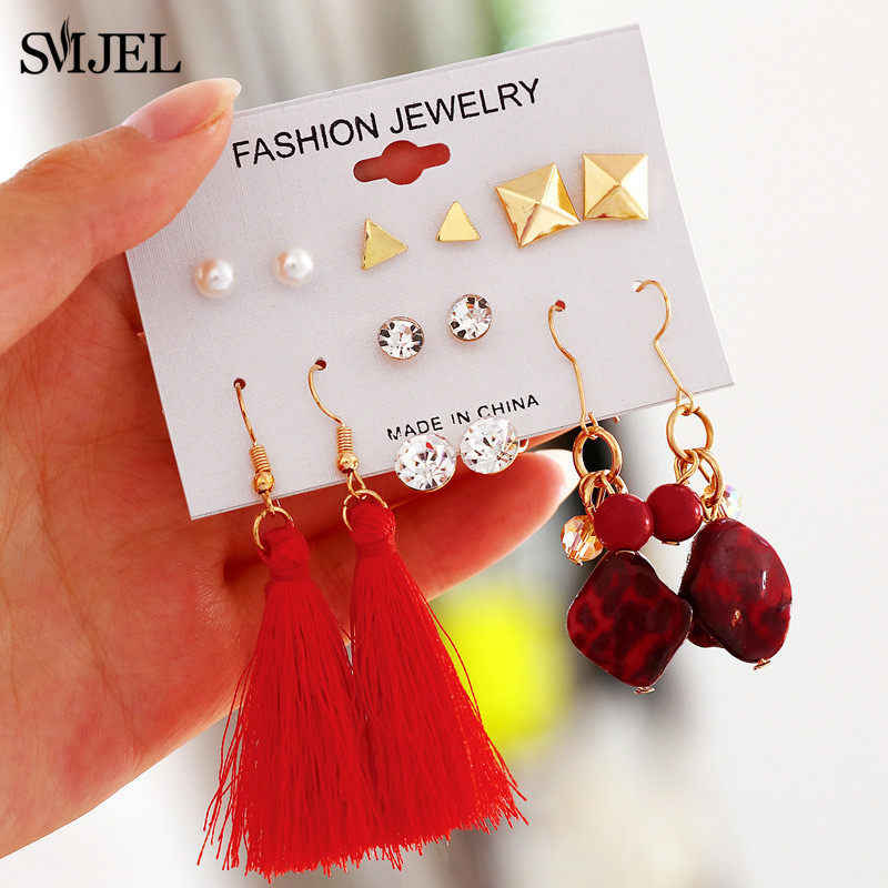 SMJEL Bohemian Tassel Crystal Long Drop Earrings for Women Red Silk Fringe Earring 2019 Fashion Geometirc Woman Jewelry oorbelle