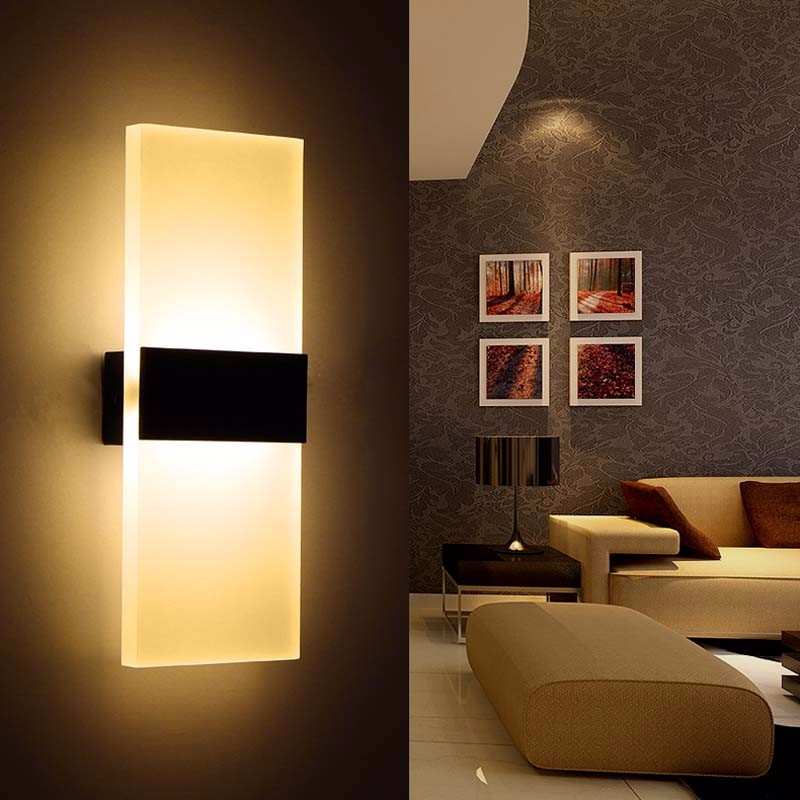 Acrylic 12w Led Wall Sconces Light Ac110v 220v Led Stair Bedside Lamp Bedroom Reading Wall Lamp