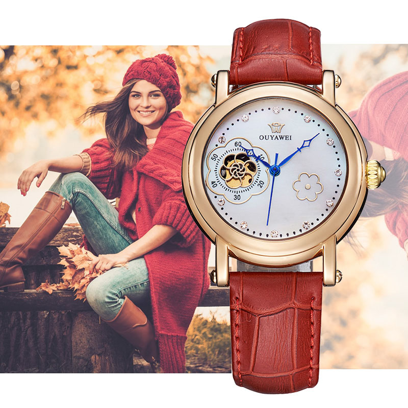 Women watches Flower design mechanical watch women Leather band ladies simple fashion casual clock relogio feminino OUYAWEI 2017 shenhua brand women watches skeleton mechanical watch white leather band ladies simple fashion casual clock relogio femininos