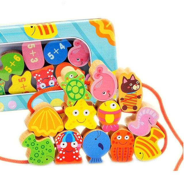 Bebê Brinquedos Educativos Geométricas Contas De Madeira Dos Desenhos Animados Blocos Montessori de Brinquedos Caixa de Armazenamento de Ferro Presente de Aniversário de 9 Tipos