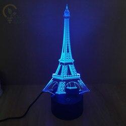 Nowoczesny fantastyczny projekt 3D kształt wieży eiffla kreatywny lampka nocna atmosfera Emotion światło do dekoracji wnętrz