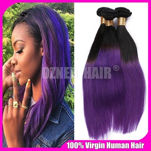 Brazilian Virgin Hair Purple Ombre Silky Straight Human Hair Weave 3