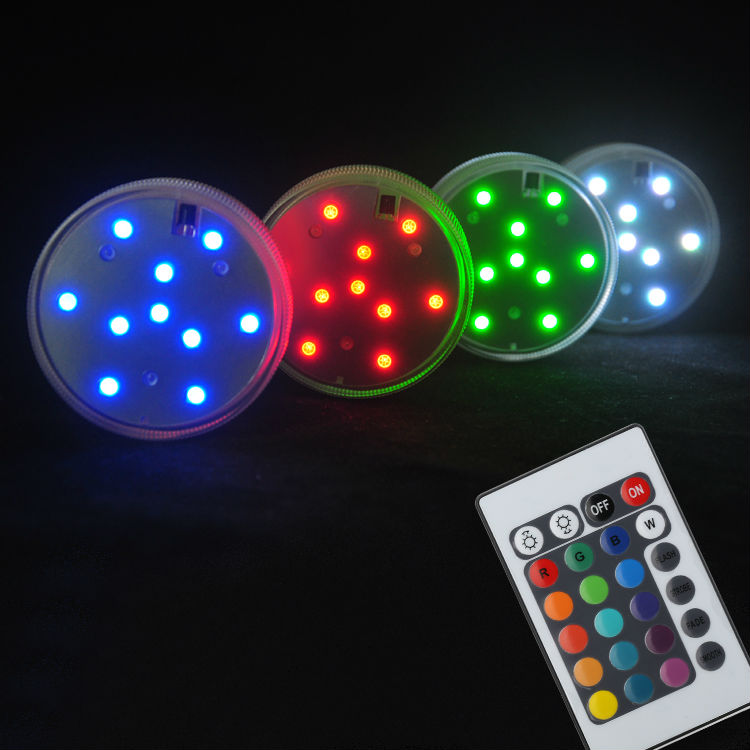 20pcs/lot Submersible Remote Control Operated Waterproof LED Party Lights Outdoor Decorative Lighting