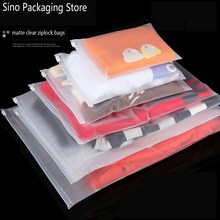 10pcs/lot Matte Clear Plastic Storage Bag Ziplock Travel Bags Valve Slide Seal Packing Pouch For Cosmetic Clothing Zip Lock 60XX(China)
