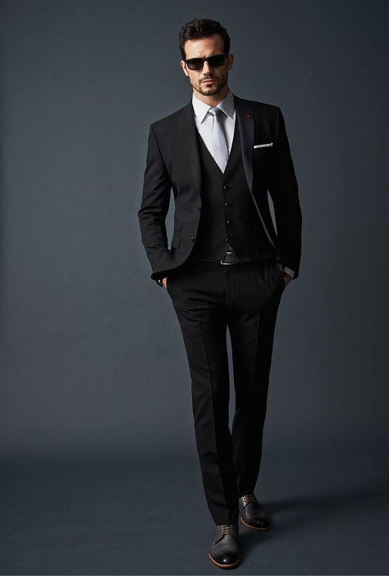 2017 Handsome Black Groomsman Suit Slim Fit Groom Tuxedos ...