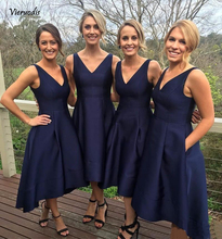 Navy Blue Short Bridesmaid Dresses 2019 Simple Satin A Line Tea Length Cheap Women Wedding Party Gowns High Quality Custom Made