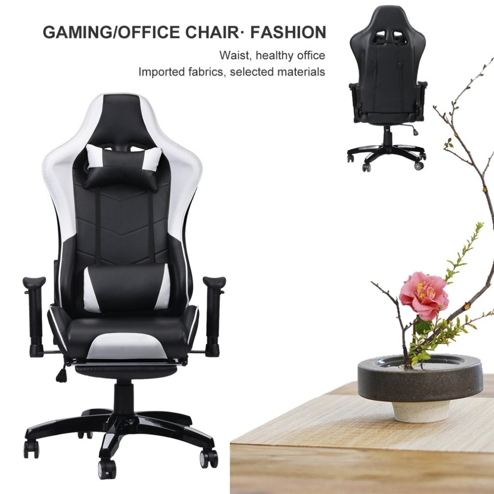 Racing Gaming Office Chair Computer Desk 360 Degree Chair Adjustable Seat & Armrests Height Backrest Recline Retractable Leg