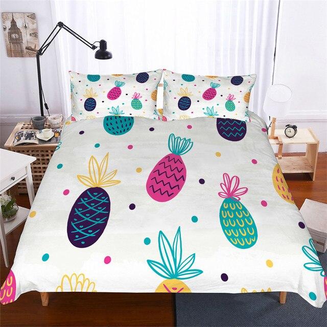 מצעי סט 3D מודפס שמיכה כיסוי מיטת סט אננס בית טקסטיל למבוגרים כמו בחיים מצעי עם ציפית # BL02