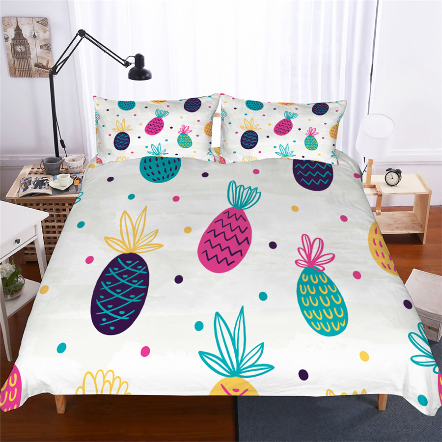 Bedding Set 3D Printed Duvet Cover Bed Set Pineapple Home Textiles for Adults Lifelike Bedclothes with Pillowcase #BL02-in Bedding Sets from Home & Garden