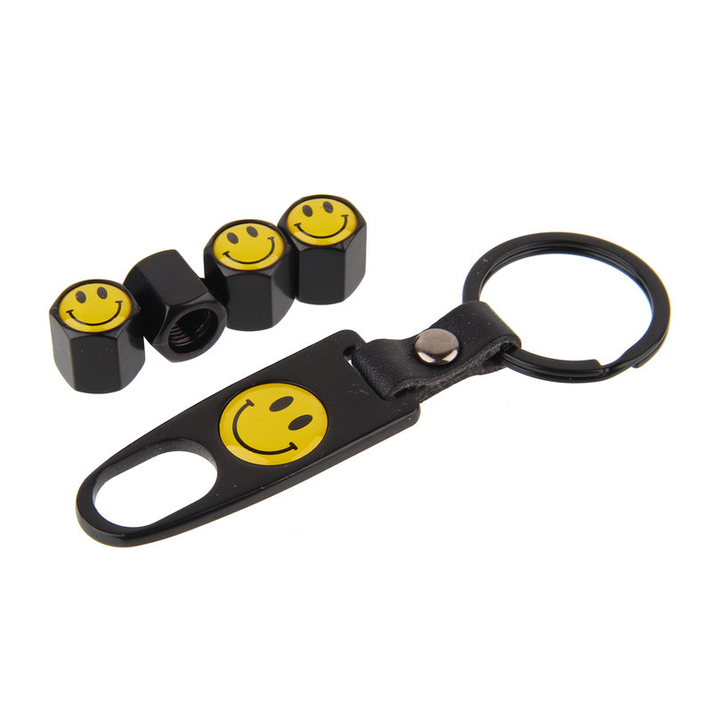 4pcs/Set Car Badge Wheel Tire Valve Cap Smile Face Logo Styling Auto Tyre Dust Covers With Key Ring Wrench