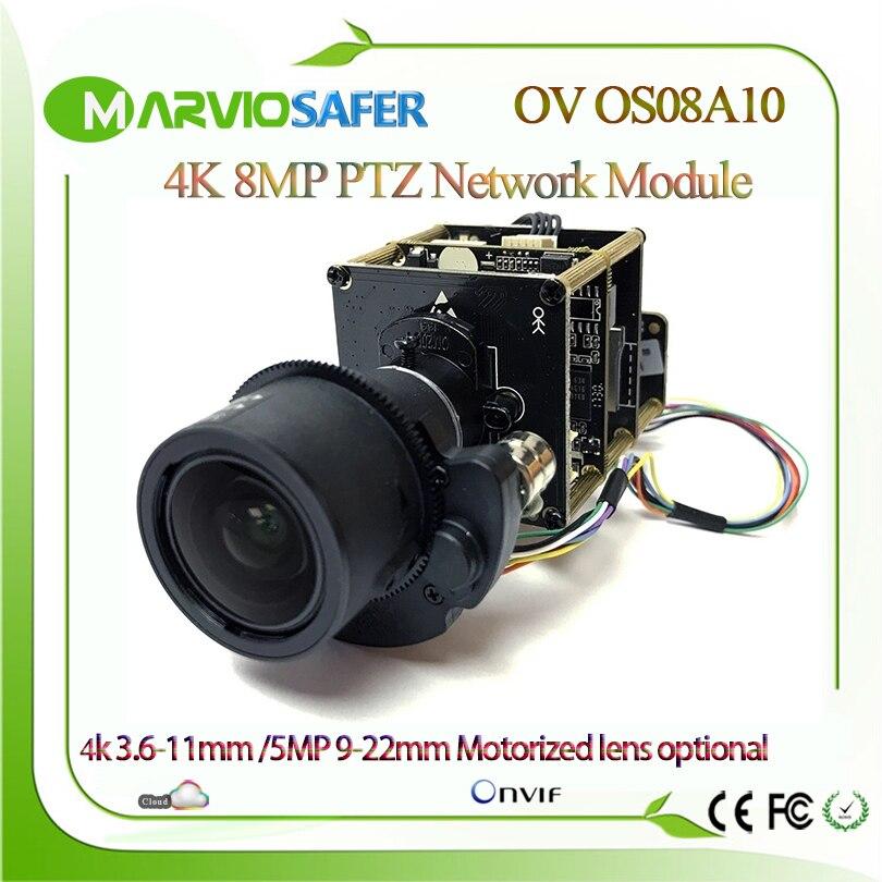 H.265 4 k UHD 8MP Starlight IP Réseau PTZ CCTV Caméra Module Parfait Jour et Nuit Vision Onvif 3.6- 11mm/9-22 Objectif Motorisé