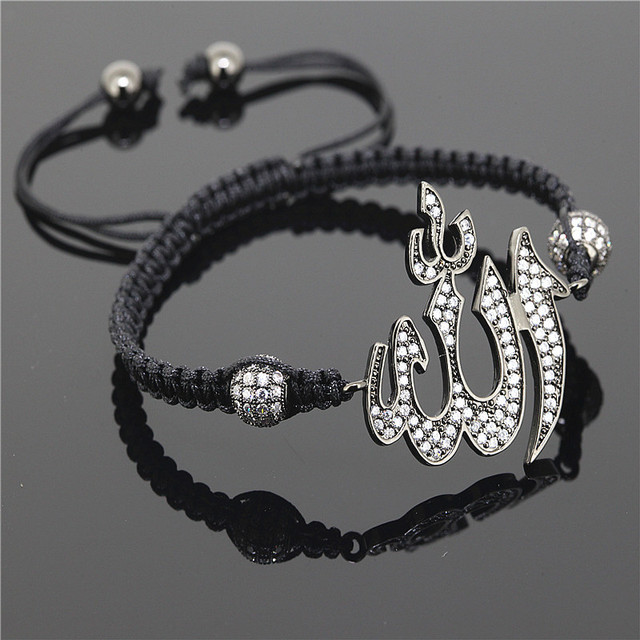 1PC2015New Brand Men Bracelets,Black Gun Plated Allah Connector Paved Black CZ Beads Braiding Macrame Bracelet For Men And Women