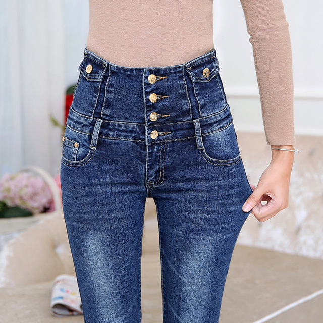 2016 Jeans Woman Autumn And Winter Slim Feet Pencil Pants Waist Stretch Jeans Wholesale Ladies Denim Trousers Female Breasted