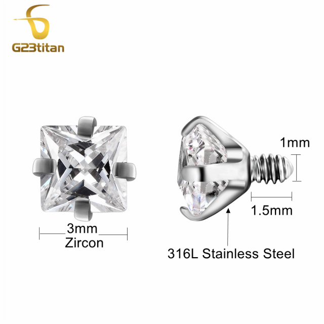 G23titan 2pc/lot 10 Colors Zircon Body Piercing Balls 16G Internally Threaded Screw for Lip Eyebrow Ear Piercing Jewelry 1