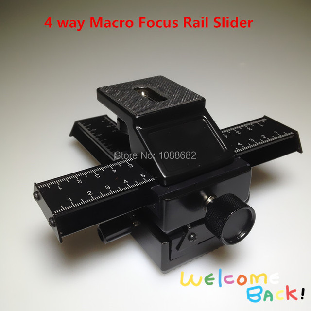 Professional Metal 4 Way Macro Focusing Focus Rail Slider 1/4 Screw Mount Macro Flash Bracket Adjustable Photography Rail Slide