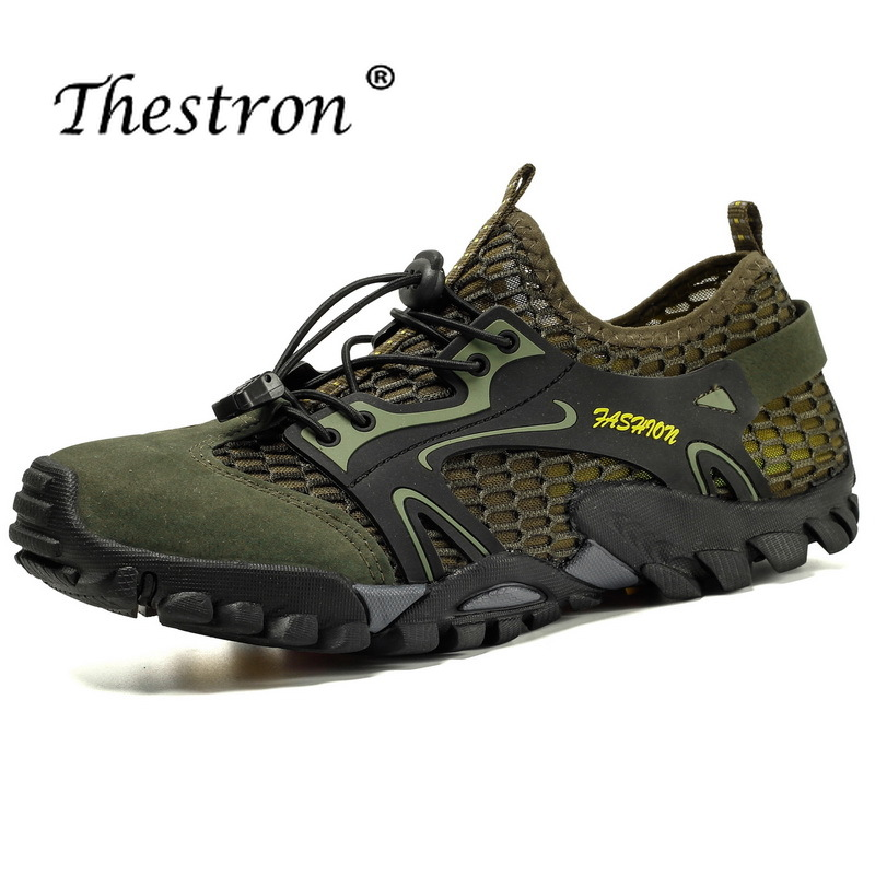 Men Hiking Shoes Thestron 2019Spring Summer Trekking Male Mesh Breathable Climbig Sneakers Elastic Sole Mountain Man